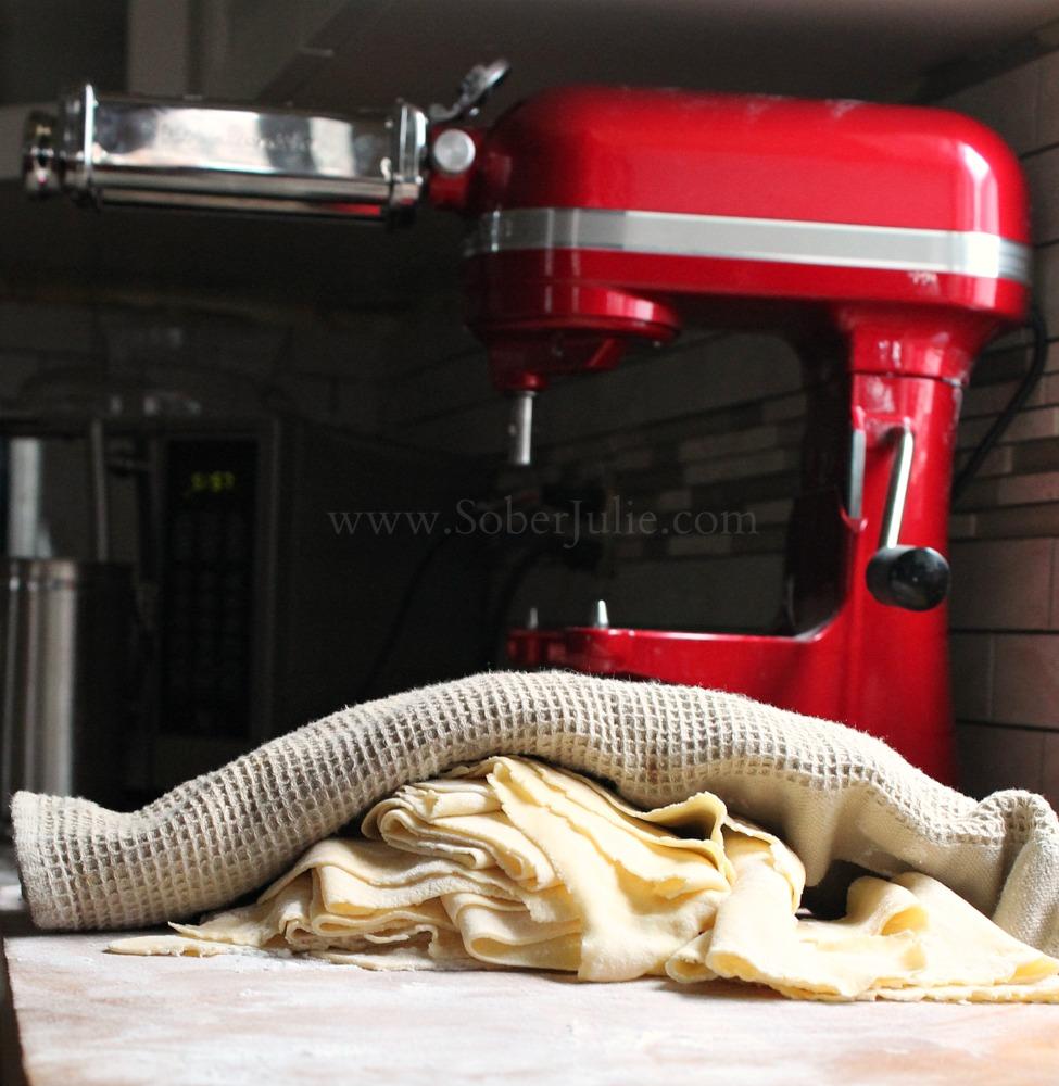 Kitchenaid pasta under towel