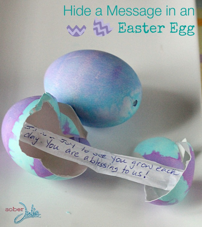 hide message in easter egg craft square