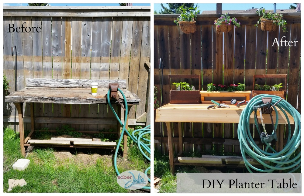 DIY Planter Table Before After
