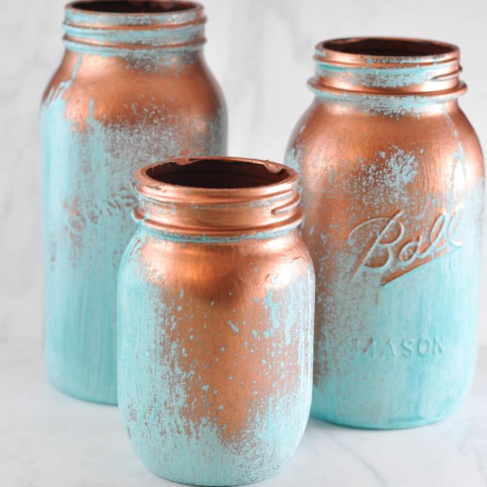 Mason Jar Crafts Part - 45: Mason Jars With A Blue Patina From Suburble