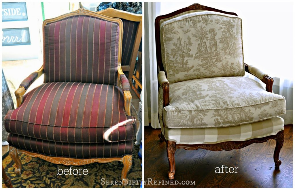Miss Mustard Seed Milk Paint Curio Stain Painted Chair makeover diy idea buffalo check French Toile tan ivory beige