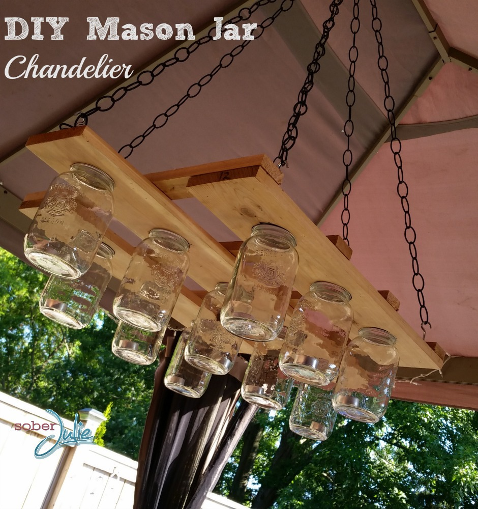 Diy mason jar chandelier project sober julie mason jar chandelier diy project arubaitofo Image collections