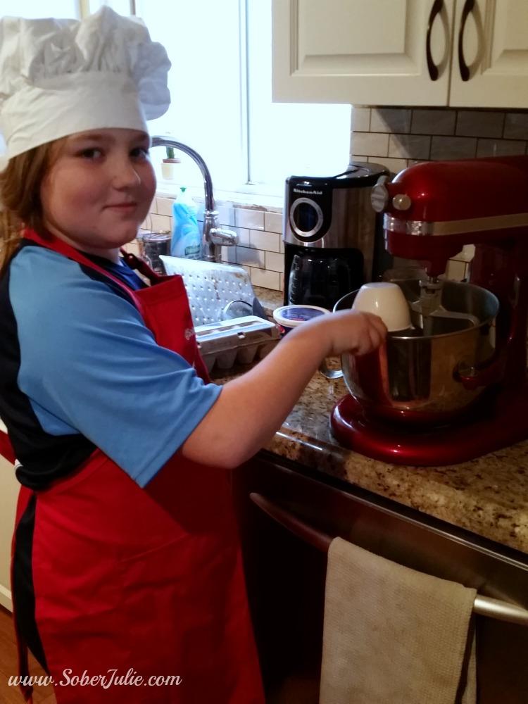 Sydney making banana bread recipe