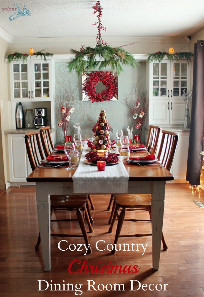 creating a cozy country christmas dining room sober julie. Black Bedroom Furniture Sets. Home Design Ideas
