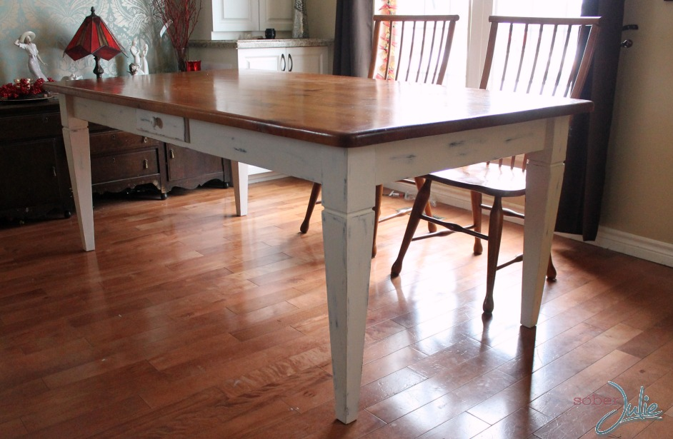 refinish furniture table after side