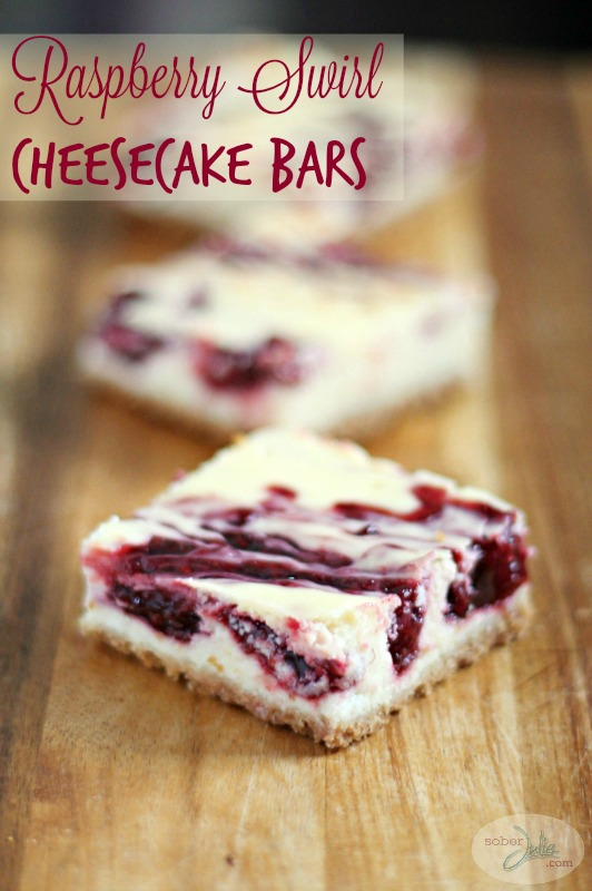 Raspberry Swirl Cheesecake Bars Recipe title