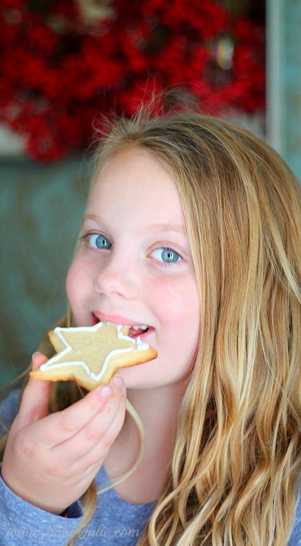 Chelsea eating sugar cookie