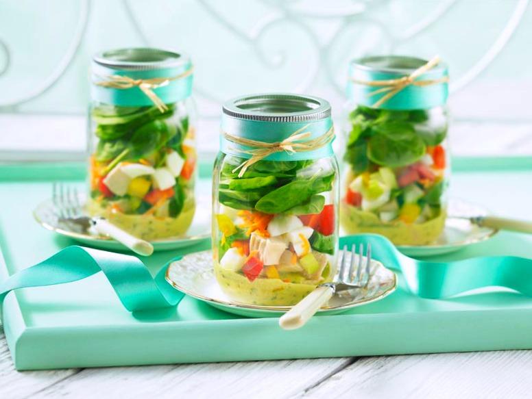 Chicken 'N Egg Cob Salad Jars recipe wide