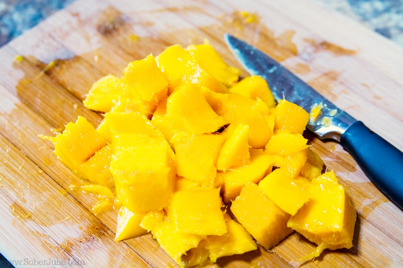 How to cut a mango the easy way sober julie using the knife cut these cubes off from the flesh ccuart Gallery